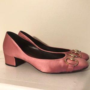 Gucci Horsebit Pink Satin Pumps 7.5